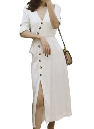 Fashion Half Sleeve Tie Waist V Neck Dress With Buttons