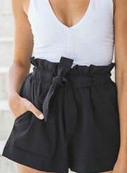 Fashion Ruffle Belt Wide Leg Shorts