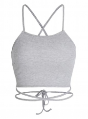 Fashion Grey Cross Spaghetti Strap Hollowed Out Lace-up Tank Top