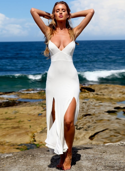 Fashion Sexy Beach White Spaghetti Strap Slit V Neck Midi Dress