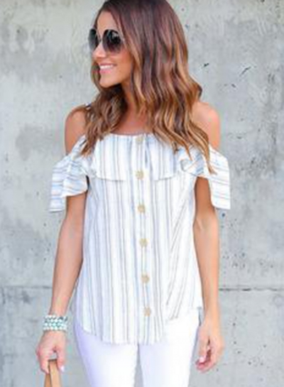 Casual Irregular Striped Off The Shoulder Blouse With Buttons