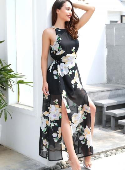 Fashion Floral Printed Sleeveless Round Neck Slit Maxi Dress