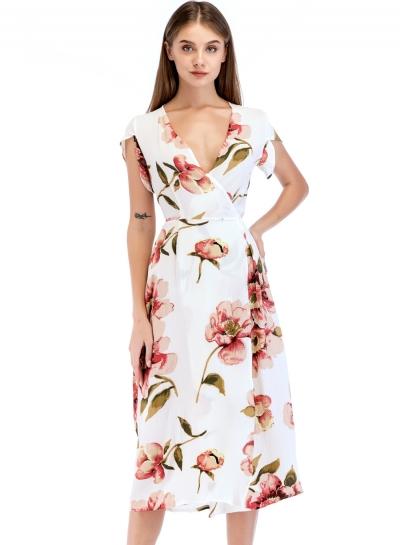 Fashion Slim Floral Printed Tie Waist Short Sleeve V Neck Women Maxi Dress