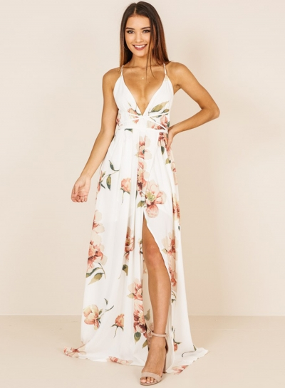 Sexy Floral Printed Spaghetti Strap Backless V Neck Slit Women Maxi Dress