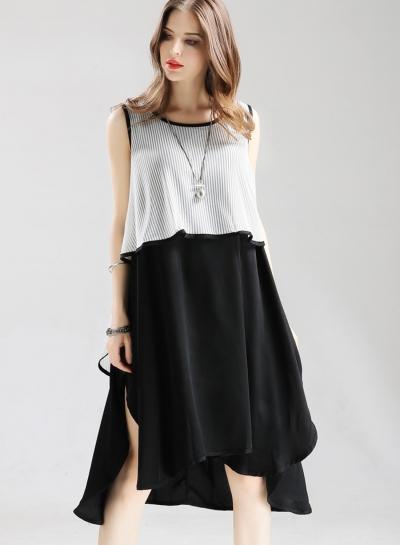 Fashion irregular Loose Striped Sleeveless Round Neck Women Midi Dress