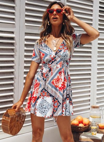 Slim Floral Printed Short Sleeve V Neck High Waist Mini Dress