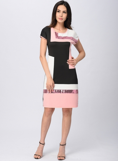 Slim Colorblock Short Sleeve Round Neck Pullover Midi Dress With Sequins