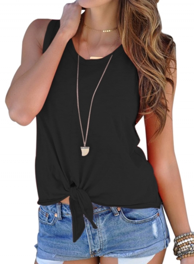 Black Tie Front Round Neck Tank Top