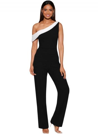 Black White Colorblock One-shoulder Women Jumpsuit