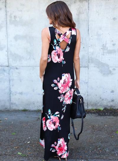 Black Floral Pocketed Holiday Maxi Boho Dress