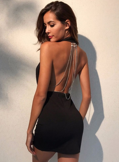 Sexy Solid Halter Backless V Neck Women Bodycon Dress With Chain