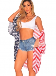 American Flag Print Beachwear Kimono Cover Up