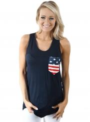 Summer Navy Stars and Stripes Pocket Women Tank Top