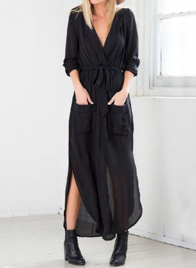 Fashion Loose Long Sleeve Slit Shirt Dress