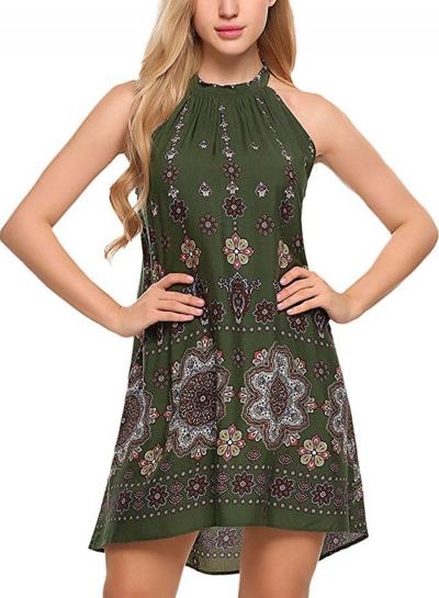 Fashion Loose Popper Printed Sleeveless Halter Neck Women Mini Dress
