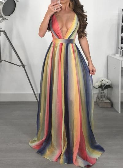 Fashion Chiffon Sleeveless Backless V Neck High Waist Women Maxi Dress