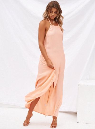 Boho Solid Halter Backless Sleeveless High Slit Maxi Dress