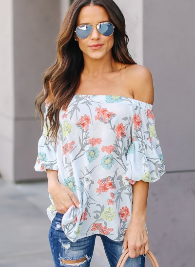 Sexy Loose Floral Printed Off Shoulder Lantern Sleeve Blouse For Women