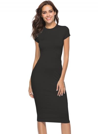 Fashion Slim Black Short Sleeve Round Neck Pullover Midi Dress
