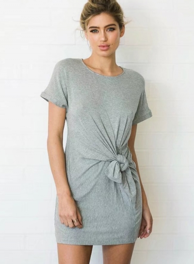 Summer Casual Solid Short Sleeve Round Neck Waist Knot Women Dress