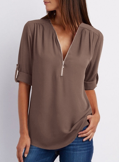 Casual Loose Chiffon Solid Long Sleeve Zip V Neck Blouse