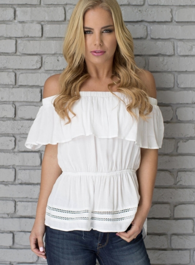 Summer Irregular Solid Ruffle Off The Shoulder Short Sleeve Blouse