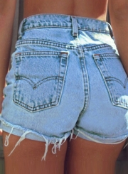 Summer Casual Denim High Waist Burrs Shorts With Pockets