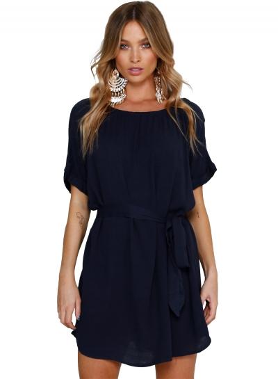 Casual Solid Chic Waist Tie Short Sleeve Round Neck Chiffon Dress