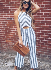9cc8a47308c3 ... Jumpsuit STYLESIMO.com. Loading zoom. Casual Striped Sleeveless Halter  Nackless Straight Wide Leg Jumpsuit ...