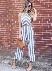 3c65304aa8f7 ... Casual Striped Sleeveless Halter Nackless Straight Wide Leg Jumpsuit ...