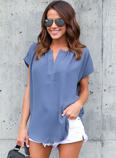 Summer Casual Loose Solid Short Sleeve V Neck Blouse