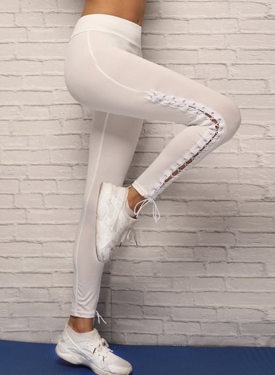 Summer Casual Sexy Solid Elastic Waist Lace-up Women Yoga Leggings