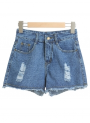 Casual Ripped Burrs Denim High Waist Wide Leg Hot Shorts With Zipper Fly