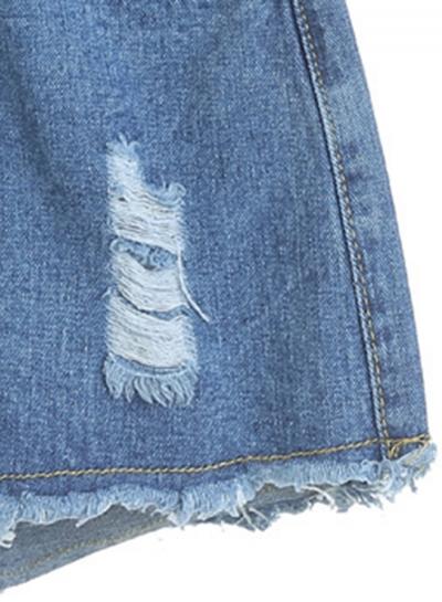 Casual Ripped Burrs Denim High Waist Wide Leg Hot Shorts With Zipper Fly stylesimo.com
