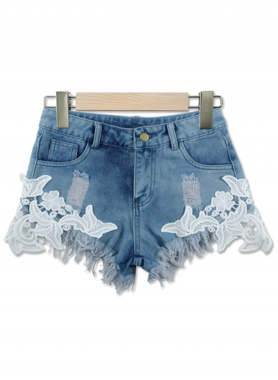 Sexy Lace Splicing Ripped Burrs Zipper Fly Denim Hot Shorts With Pockets