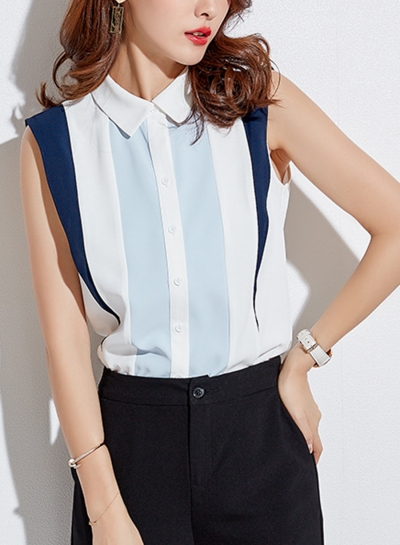 Chiffon Colorblock Sleeveless Turn-Down Collar Button Down Shirt