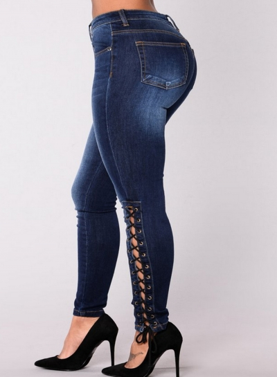 Slim High Waist Lace-up Zipper Fly Denim Pencil Pants With Pockets