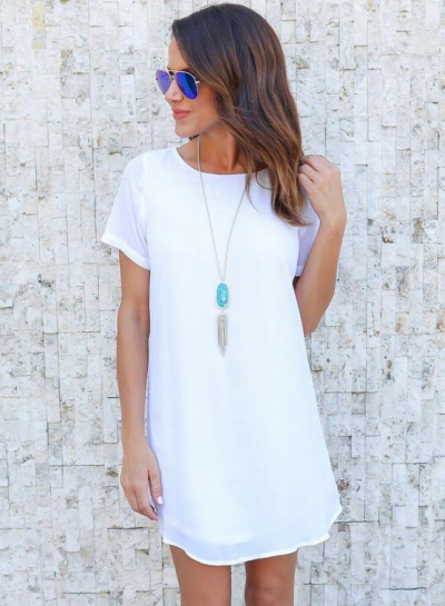 Casual Loose Solid Short Sleeve Round Neck Chiffon Dress