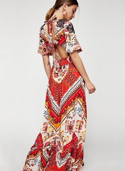 Fashion Floral printed Short Sleeve V Neck Lace-Up Backless Maxi Dress