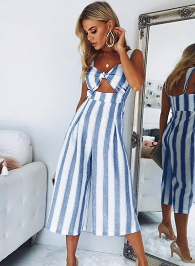 Fashion Sexy Striped Front Knot High Waist Wide Leg Jumpsuit With Pockets