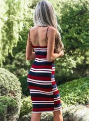 Sexy Striped Spaghetti Strap Backless Bodycon Dress With Zip