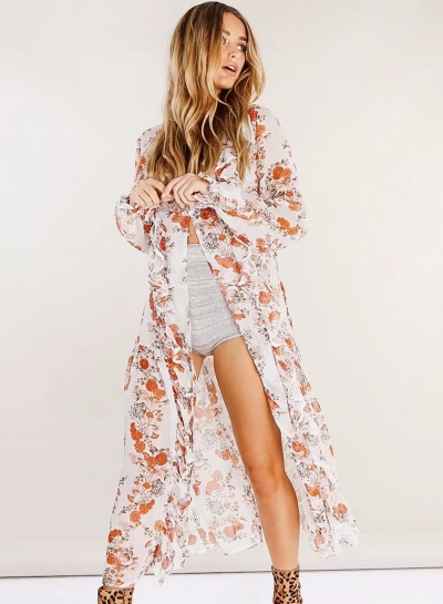 Floral Printed Long Sleeve V Neck Front Buttons Waist Tie Maxi Dress