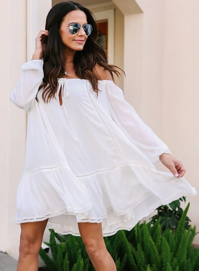 Summer Loose Solid Lantern Sleeve Lace-Up Slash Neck Ruffle Hem Dress