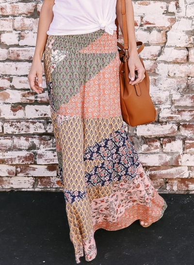Fashion Boho Chiffon Floral Printed Elastic Waist Long Skirt