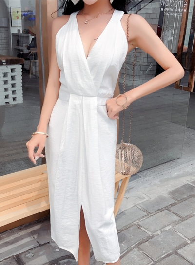 Elegant Slim Solid  Sleeveless V Neck High Waist Slit Dress