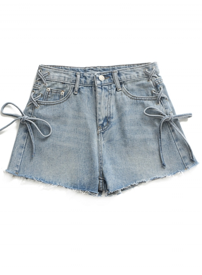 Casual Solid High Waist Side Lace-Up Zipper Fly Denim Straight Shorts