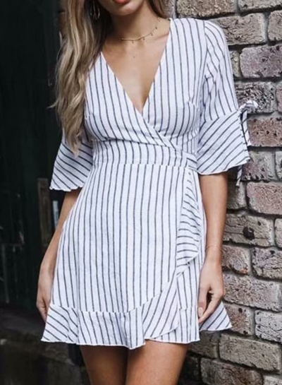 Summer Casual Slim Striped Ruffle Hem Half Sleeve V Neck High Waist Dress