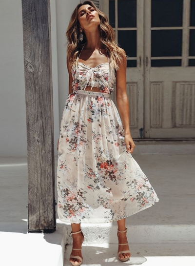 Casual Chiffon Floral Printed Halter Front Knot High Waist A-line Dress