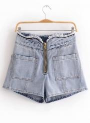 Casual Solid High Waist Zipper Fly Wide leg Denim Shorts With Pockets