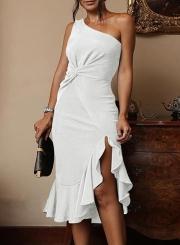 White Sexy Irregular One Shoulder Ruffle Hem Cocktail Dress